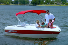 3-Bow Round Tube Bimini Top w/Optional Rear Brace Kit & Stainless Steel Fittings - Stingray Boat