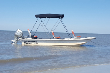 3-Bow Round Tube Bimini Top - 1996 Carolina Skiff J16 - A6057TB - Sunbrella Jet Black