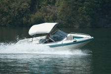 3-Bow Round Tube Bimini Top - White Vinyl - 30in. Height - Mastercraft Boat