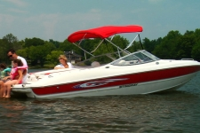 3-Bow Round Tube Bimini Top w/Optional Rear Brace Kit & Stainless Steel Fittings - 36in. Height - Stingray Boat