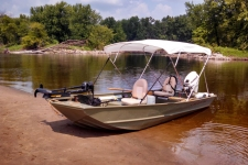 4 Bow Round Tube Bimini Top w/Rear Brace Kit and Stainless Steel Fittings - 2010 Crestliner 1648MT