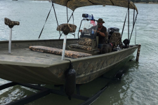 3-Bow Round Tube Bimini Top - Camo - Shadow Grass - Modified V Jon Style Boat w/ Center Console - Tracker Grizzly