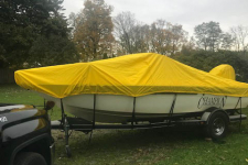Styled to Fit Cover - V-Hull Fishing Boat w/ Walk Thru Windshield - 2008 Champion 186 Fishhunter