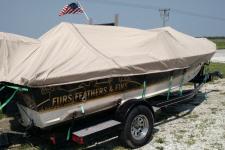 Styled to Fit Cover - Narrow V-Hull Fishing Boat w/ Walk Thru Windshield  - Sylvan 1800 Avenger