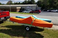 OEM Custom Fit, Fishing Kayaks, Shown in Sunbrella Orange and Sunbrella Aruba colors - NuCanoe