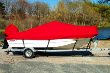Custom Boat Cover - 03-17 Boston Whaler Montauk 170 w/ Bow Rail Boat Cover  - Sunbrella  Logo Red