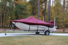 2014 Carolina Skiff 198 DLV - Custom Fit Boat Cover - Sun-DURA, Maroon
