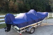 2010 Carolina Skiff JVX  - Styled to Fit Boat Cover - Narrow Center Console Bay Style Fishing Boats w/ Shallow Draft Hull style