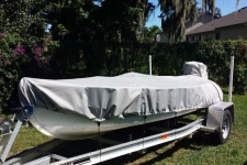 Feathercraft 4 - Styled to Fit boat Cover - V-Hull Fishing Boat style in Sun-DURA Mist Gray